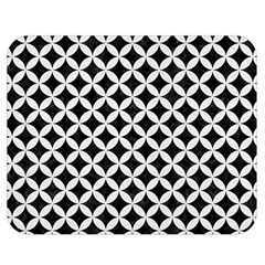 Circles3 Black Marble & White Linen (r) Double Sided Flano Blanket (medium)