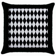 Diamond1 Black Marble & White Linen Throw Pillow Case (black)