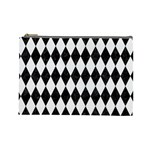 DIAMOND1 BLACK MARBLE & WHITE LINEN Cosmetic Bag (Large)  Front