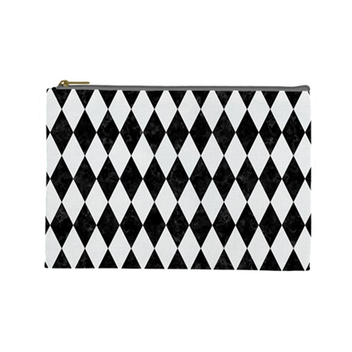 DIAMOND1 BLACK MARBLE & WHITE LINEN Cosmetic Bag (Large)