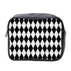 Diamond1 Black Marble & White Linen Mini Toiletries Bag 2 Side