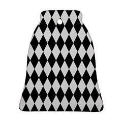Diamond1 Black Marble & White Linen Ornament (bell)