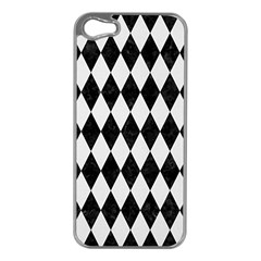 Diamond1 Black Marble & White Linen Apple Iphone 5 Case (silver)