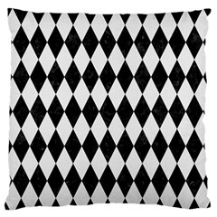 Diamond1 Black Marble & White Linen Large Flano Cushion Case (two Sides)