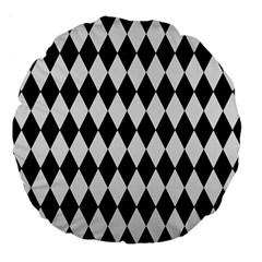Diamond1 Black Marble & White Linen Large 18  Premium Flano Round Cushions