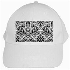 Damask1 Black Marble & White Linen White Cap