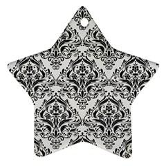 Damask1 Black Marble & White Linen Ornament (star)