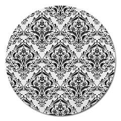 Damask1 Black Marble & White Linen Magnet 5  (round)