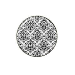 Damask1 Black Marble & White Linen Hat Clip Ball Marker (4 Pack)
