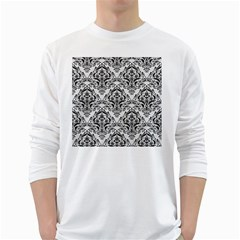Damask1 Black Marble & White Linen White Long Sleeve T Shirts