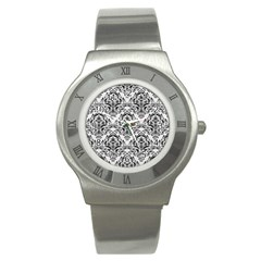Damask1 Black Marble & White Linen Stainless Steel Watch
