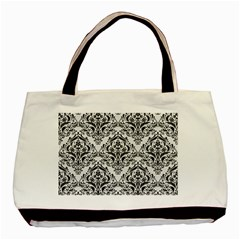 Damask1 Black Marble & White Linen Basic Tote Bag
