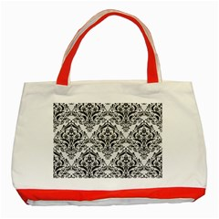 Damask1 Black Marble & White Linen Classic Tote Bag (red)