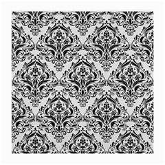 Damask1 Black Marble & White Linen Medium Glasses Cloth
