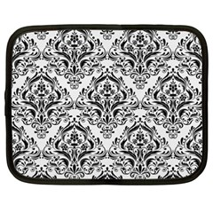Damask1 Black Marble & White Linen Netbook Case (xxl)