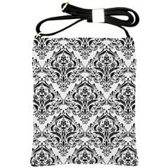 Damask1 Black Marble & White Linen Shoulder Sling Bags