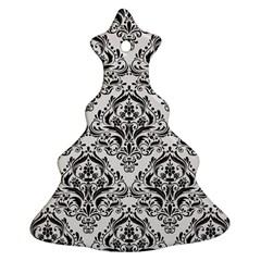 Damask1 Black Marble & White Linen Ornament (christmas Tree)