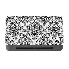 Damask1 Black Marble & White Linen Memory Card Reader With Cf