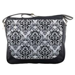 Damask1 Black Marble & White Linen Messenger Bags