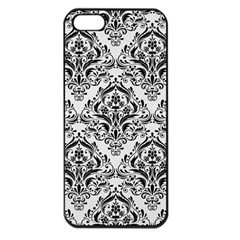 Damask1 Black Marble & White Linen Apple Iphone 5 Seamless Case (black)