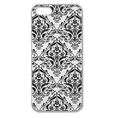 Damask1 Black Marble & White Linen Apple Seamless Iphone 5 Case (clear)