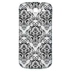 Damask1 Black Marble & White Linen Samsung Galaxy S3 S Iii Classic Hardshell Back Case