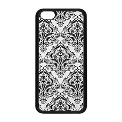 Damask1 Black Marble & White Linen Apple Iphone 5c Seamless Case (black)