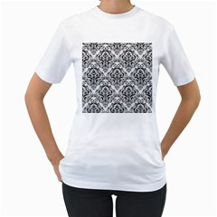 Damask1 Black Marble & White Linen Women s T Shirt (white)