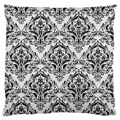 Damask1 Black Marble & White Linen Standard Flano Cushion Case (two Sides)