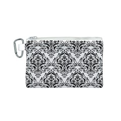 Damask1 Black Marble & White Linen Canvas Cosmetic Bag (s)