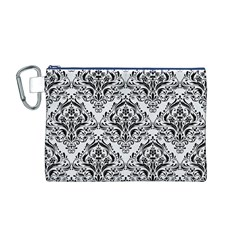 Damask1 Black Marble & White Linen Canvas Cosmetic Bag (m)