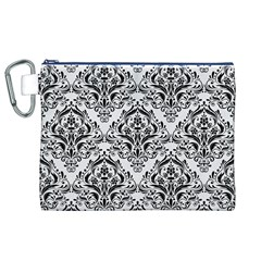 Damask1 Black Marble & White Linen Canvas Cosmetic Bag (xl)