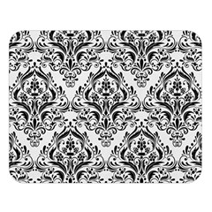 Damask1 Black Marble & White Linen Double Sided Flano Blanket (large)