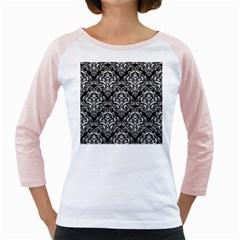 Damask1 Black Marble & White Linen (r) Girly Raglans