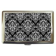 Damask1 Black Marble & White Linen (r) Cigarette Money Cases
