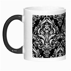 Damask1 Black Marble & White Linen (r) Morph Mugs
