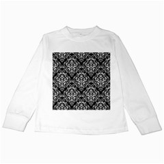 Damask1 Black Marble & White Linen (r) Kids Long Sleeve T Shirts