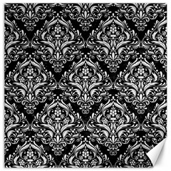 Damask1 Black Marble & White Linen (r) Canvas 20  X 20