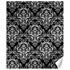 Damask1 Black Marble & White Linen (r) Canvas 20  X 24