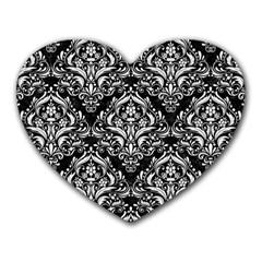 Damask1 Black Marble & White Linen (r) Heart Mousepads