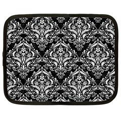 Damask1 Black Marble & White Linen (r) Netbook Case (large)