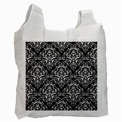 Damask1 Black Marble & White Linen (r) Recycle Bag (two Side)