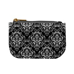 Damask1 Black Marble & White Linen (r) Mini Coin Purses