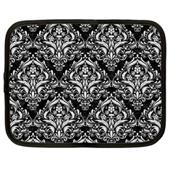 Damask1 Black Marble & White Linen (r) Netbook Case (xl)