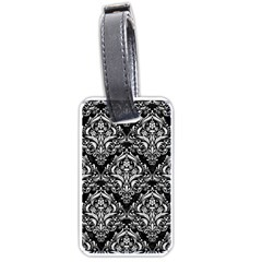 Damask1 Black Marble & White Linen (r) Luggage Tags (two Sides)