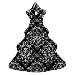 Damask1 Black Marble & White Linen (r) Christmas Tree Ornament (two Sides)