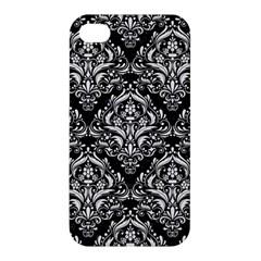 Damask1 Black Marble & White Linen (r) Apple Iphone 4/4s Premium Hardshell Case