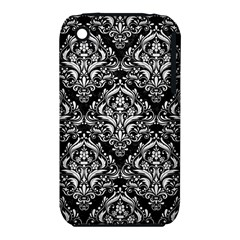 Damask1 Black Marble & White Linen (r) Iphone 3s/3gs