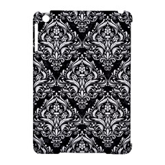Damask1 Black Marble & White Linen (r) Apple Ipad Mini Hardshell Case (compatible With Smart Cover)