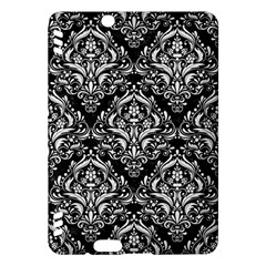 Damask1 Black Marble & White Linen (r) Kindle Fire Hdx Hardshell Case
